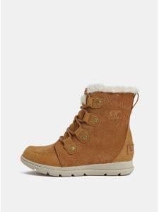Hnedé dámske zimné nepremokavé semišové členkové topánky SOREL Explorer Joan