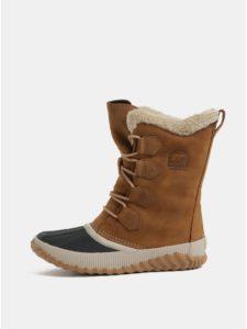 Hnedá dámske semišové nepremokavé zimné topánky SOREL Newbie