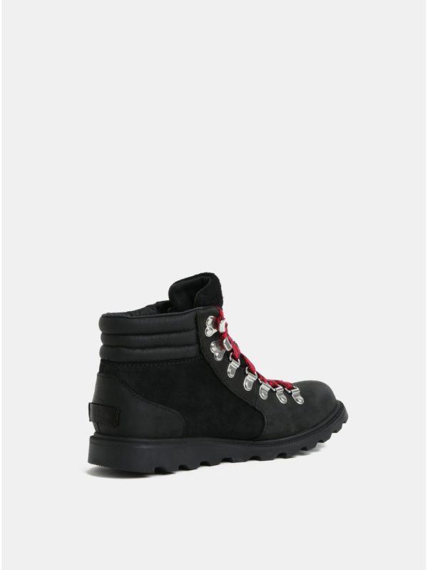 Čierne dámske kožené členkové topánky SOREL AINSLE CONQUEST