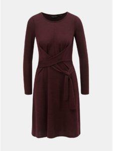 Vínové svetrové šaty so zaväzovaním Dorothy Perkins