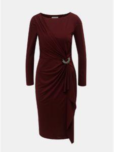 Vínové šaty s volánom a kovovou ozdobou Lily & Franc by Dorothy Perkins