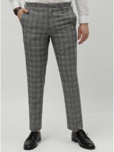 Sivé kockované slim fit oblekové nohavice Burton Menswear London