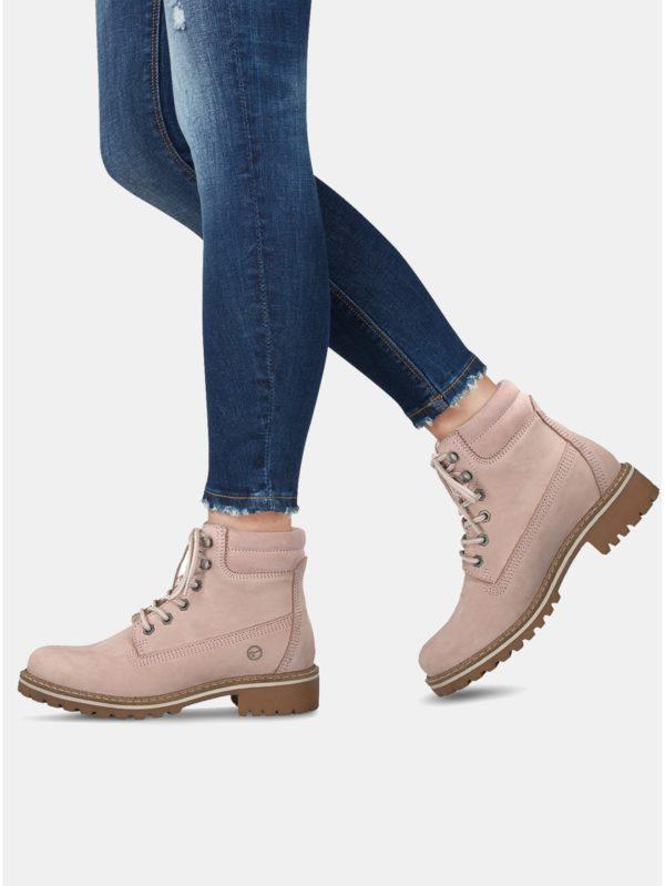 5481b8995e65 Svetloružové semišové členkové topánky Tamaris