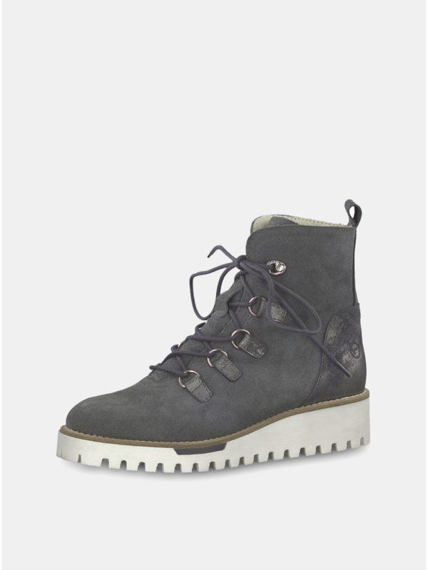 Sivé semišové členkové zimné topánky s vlnenou podšívkou Tamaris