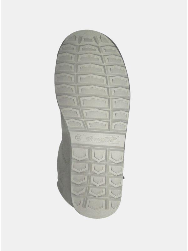 Svetlosivé semišové čižmy s kožušinkou Tamaris