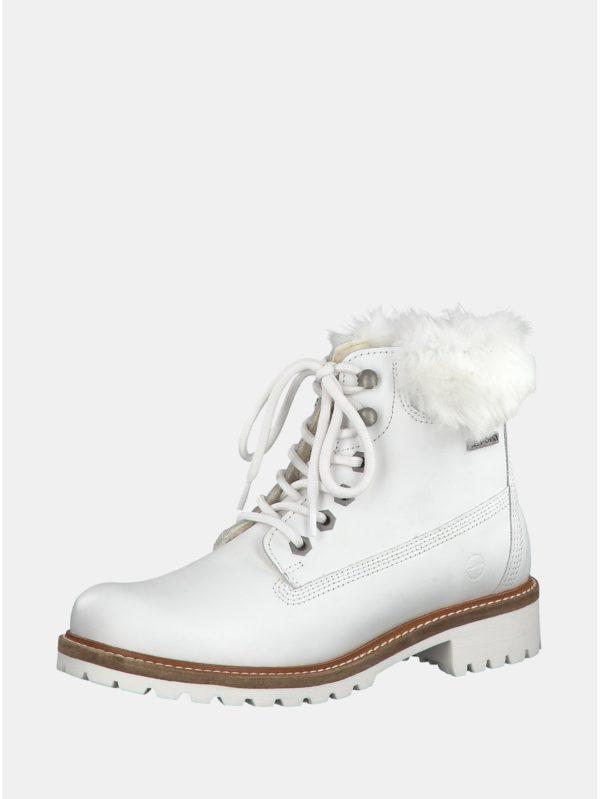 Biele kožené členkové nepremokavé zimné topánky s vlnenou podšívkou Tamaris