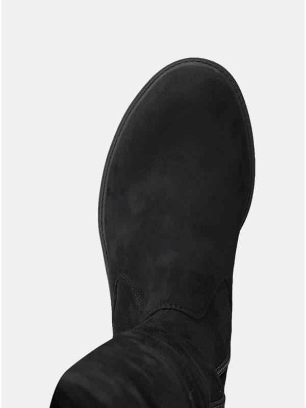 Čierne vysoké čižmy v semišovej úprave Tamaris  f0136785cd4