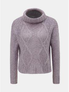 Fialový oversize krátky sveter s rolákom Miss Selfridge