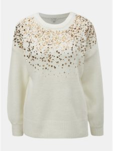 Krémový sveter s flitrami Miss Selfridge