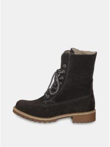 Sivé semišové členkové nepremokavé zimné topánky so zateplenou podšívkou Tamaris
