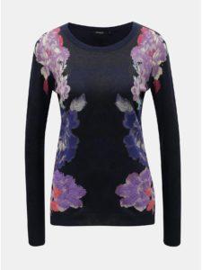 Tmavomodrý kvetovaný tenký sveter s ozdobnými kamienkami Desigual Fara