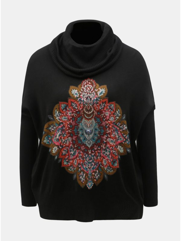Čierny sveter s rolákom a flitrami Desigual Cassandra