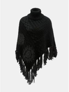 Čierne pončo s potlačou a strapcami Desigual Soft