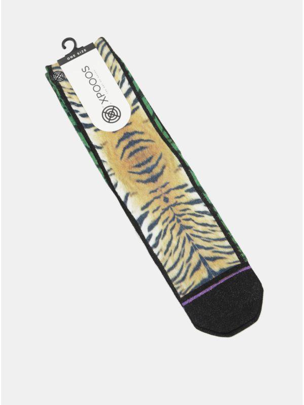 Oranžovo–čierne dámske ponožky s tigrím vzorom XPOOOS