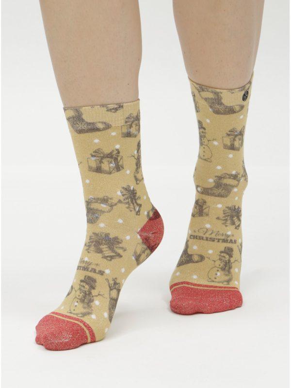 Dámske ponožky v červenej a zlatej farbe s vianočným motívom XPOOOS