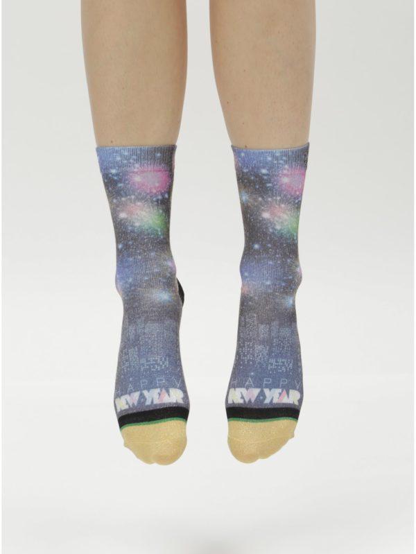 Čierno–modré dámske ponožky s motívom ohňostroja XPOOOS