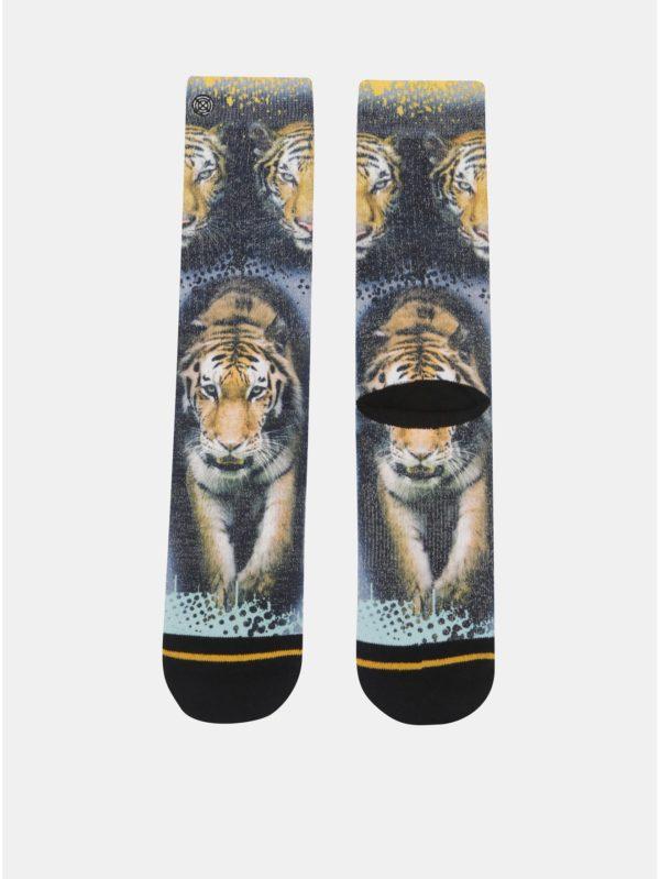 Oranžovo–čierne pánske ponožky s motívom tigra XPOOOS