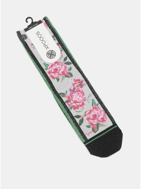 Ružovo–sivé dámske ponožky s motívom ruží XPOOOS