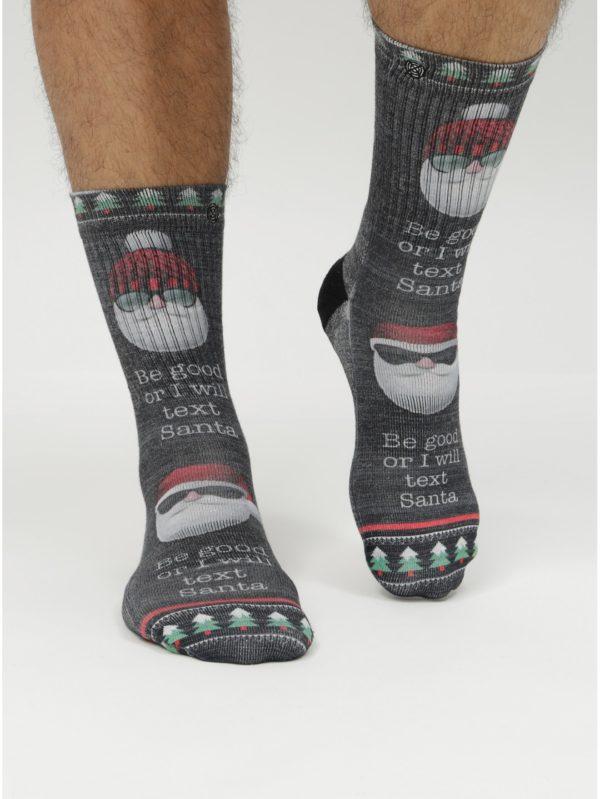 Sivé pánske ponožky s vianočným motívom XPOOOS