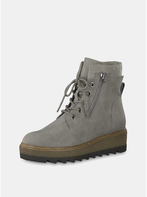 Sivé členkové topánky na podpätku Tamaris