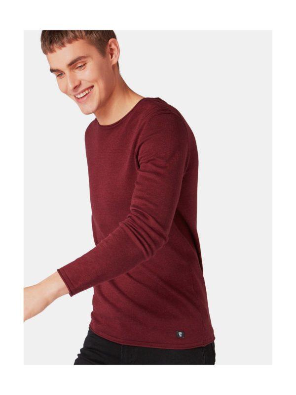 Vínový pánsky tenký sveter Tom Tailor Denim