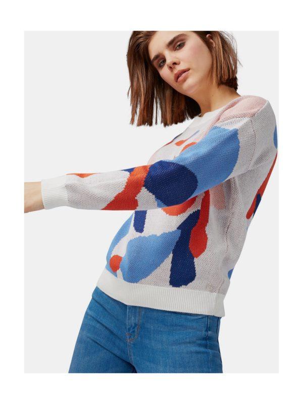 12cd0685013b Červeno–biely dámsky vzorovaný sveter Tom Tailor Denim