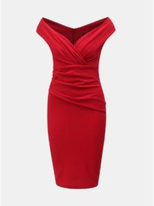 Červené puzdrové šaty s riasením ZOOT
