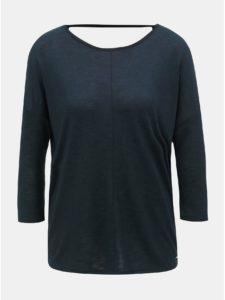 Tmavomodré dámske voľné tričko s 3/4 rukávom Tom Tailor Denim