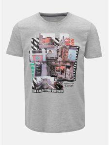 Sivé pánske melírované tričko s potlačou Tom Tailor Denim