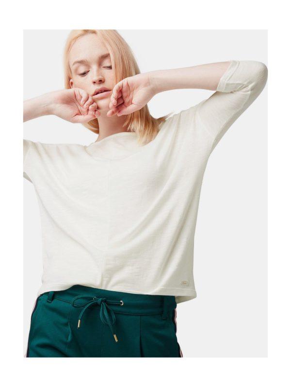 fb49c37e4fc0 Krémové dámske voľné tričko s 3 4 rukávom Tom Tailor Denim
