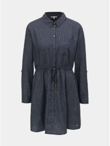 Tmavomodré kockované košeľové šaty Tom Tailor Denim