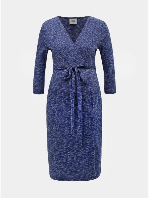 Modré melírované tehotenské šaty s 3/4 rukávom Mama.licious Giana