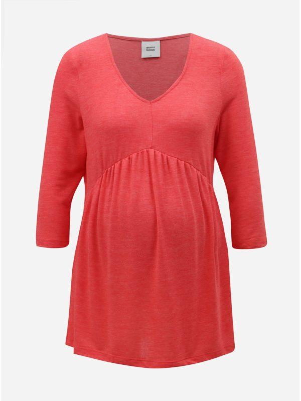 Koralové tehotenské voľné tričko s 3/4 rukávom Mama.licious Miriam