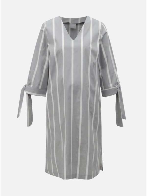 Bielo–sivé tehotenské pruhované šaty Mama.licious Laura