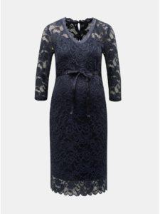 Tmavomodré tehotenské čipkované puzdrové šaty Mama.licious Mivana