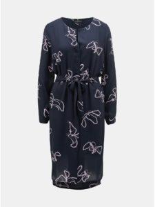 Tmavomodré vzorované košeľové šaty Selected Femme Dynella