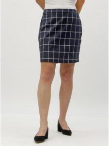 Tmavomodrá kockovaná sukňa VERO MODA Bell