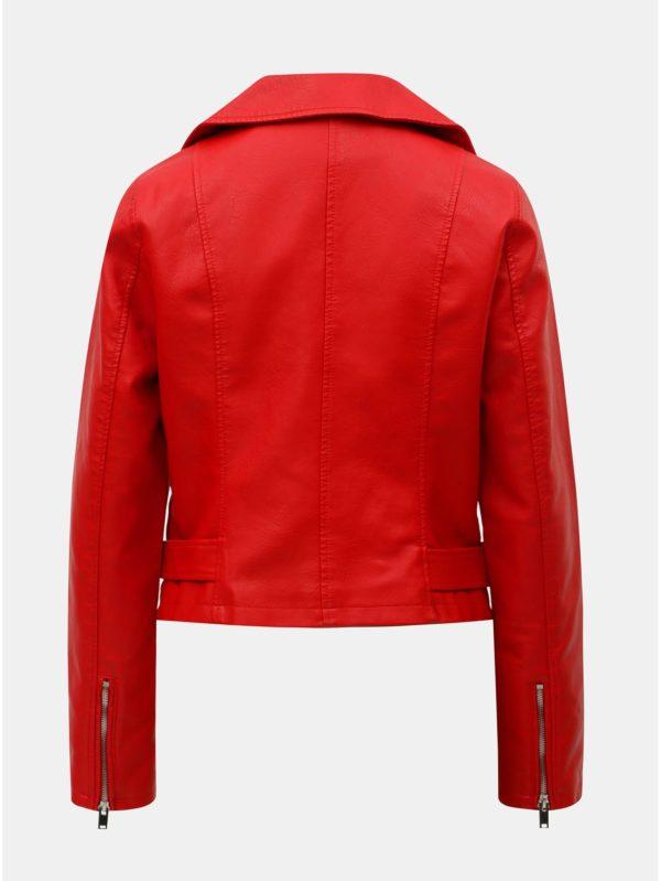 Červená koženková bunda VILA Jane