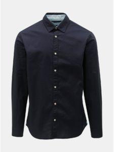 Tmavomodrá vzorovaná slim fit košeľa s dlhým rukávom Jack & Jones Jason