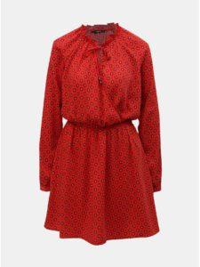 Červené vzorované šaty s prekladaným výstrihom ONLY Vicky