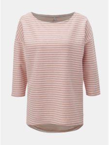Bielo–ružové pruhované tričko s 3/4 rukávmi ONLY Elly