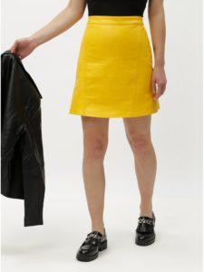 Žltá koženková sukňa ONLY Allison