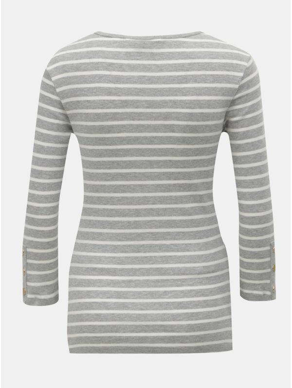 Bielo–sivé pruhované tehotenské tričko s 3/4 rukávom Dorothy Perkins Maternity