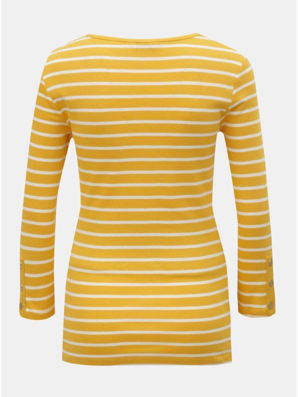 Bielo–žlté pruhované tehotenské tričko s 3/4 rukávom Dorothy Perkins Maternity