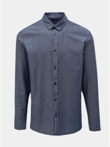 Modrá bodkovaná slim fit košeľa Selected Homme Kris