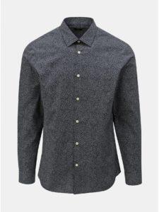 Tmavomodrá vzorovaná slim fit košeľa Selected Homme Slimpen