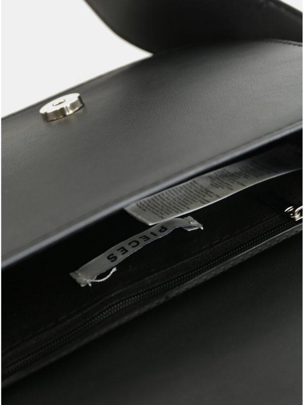 Čierna crossbody kabelka s výšivkou Pieces Ava