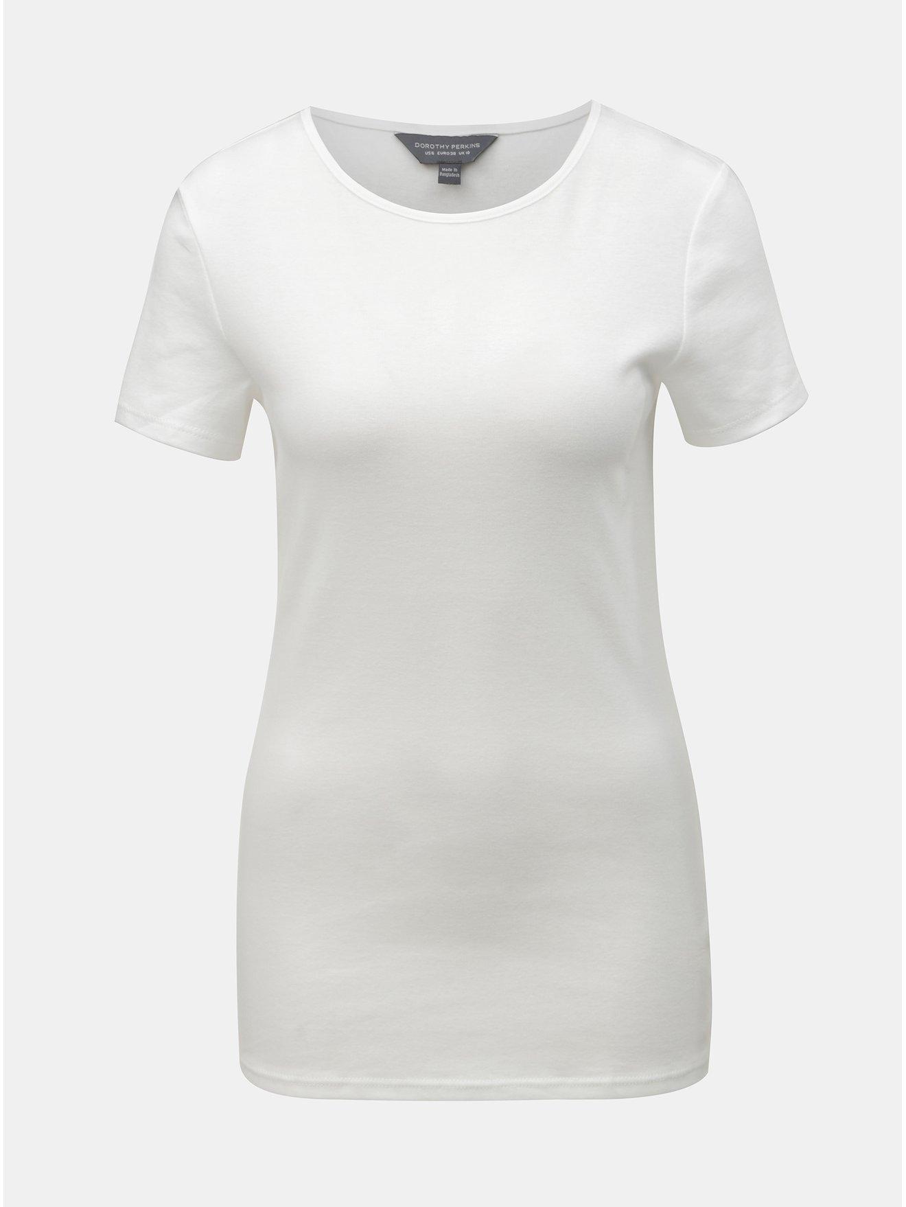 51093bafbb7a Biele basic tričko s krátkym rukávom Dorothy Perkins Tall
