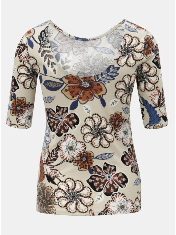 Béžové kvetované tričko s výstrihom na chrbte Dorothy Perkins