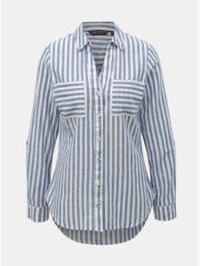 Bielo–modrá pruhovaná košeľa s prímesou ľanu Dorothy Perkins
